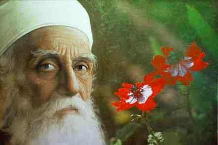 Abdu'l-Bahá With Flowers (part painting, partphotograph)